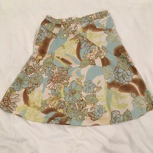 Express A line floral skirt tan blue green size 4